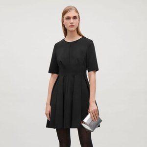 EUC COS Black Scuba Pleated Waist Flare Dress